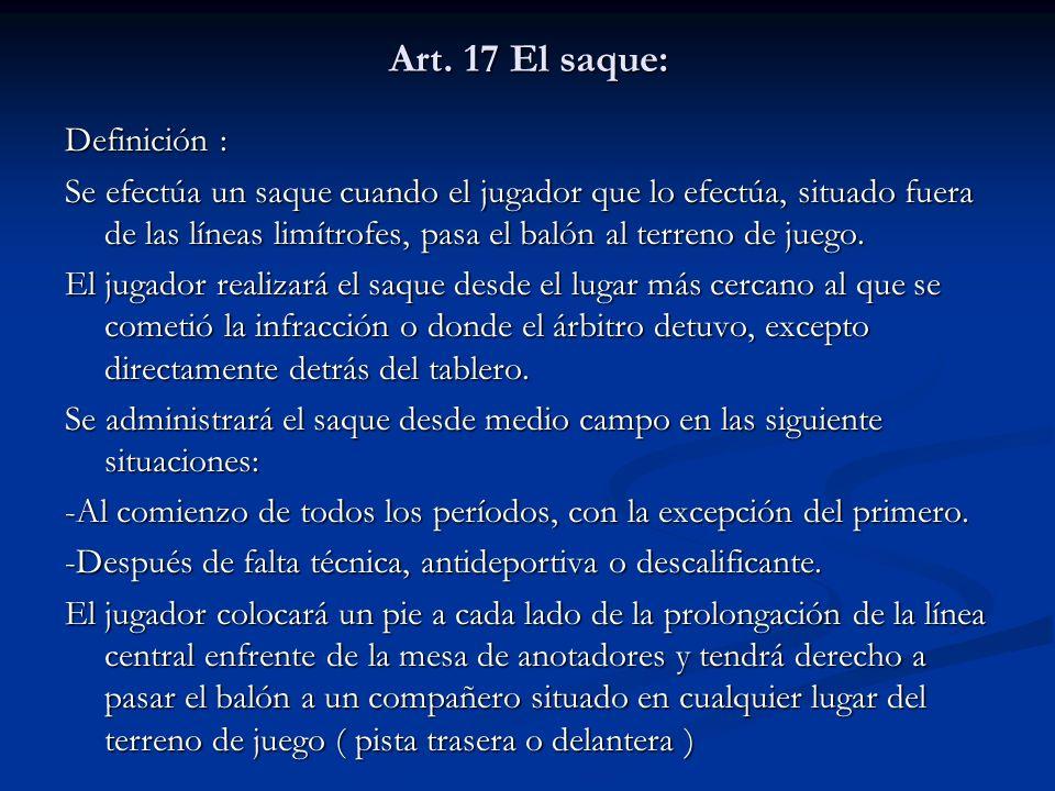 Art. 17 El saque: Definición :