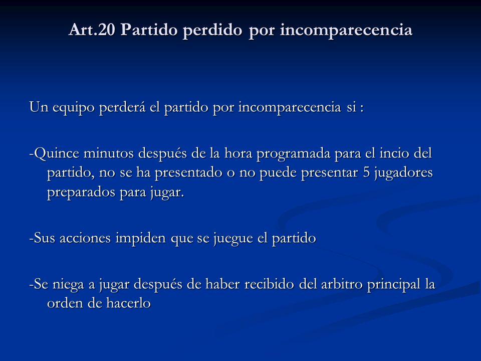 Art.20 Partido perdido por incomparecencia