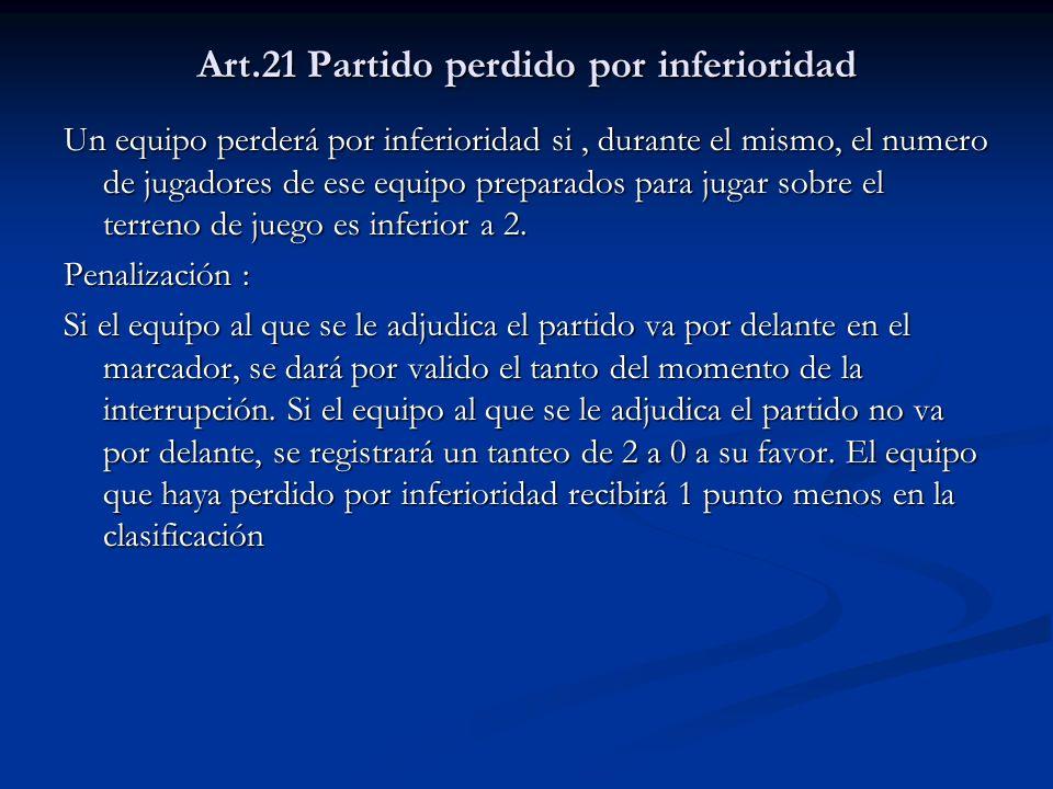Art.21 Partido perdido por inferioridad