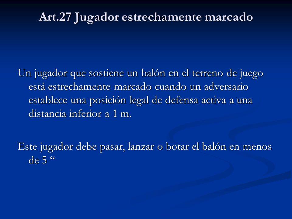Art.27 Jugador estrechamente marcado