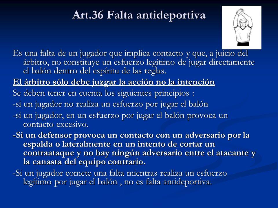 Art.36 Falta antideportiva