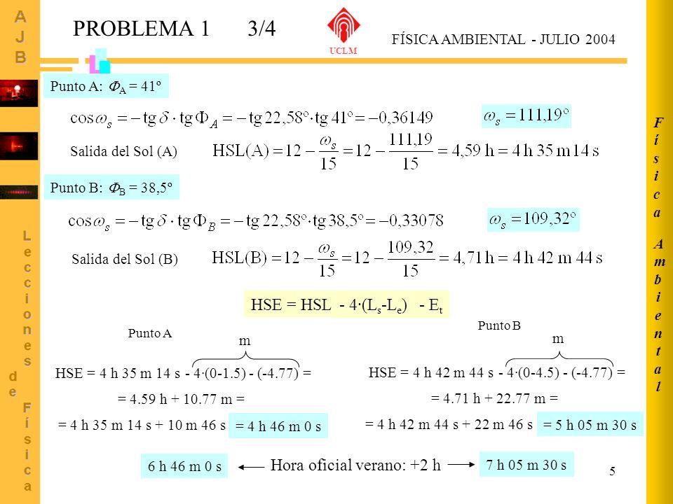 PROBLEMA 1 3/4 HSE = HSL - 4·(Ls-Le) - Et Hora oficial verano: +2 h