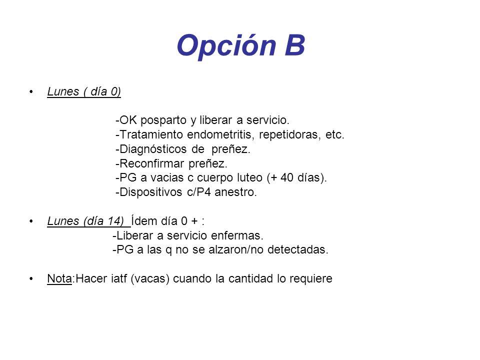Opción B Lunes ( día 0) -OK posparto y liberar a servicio.