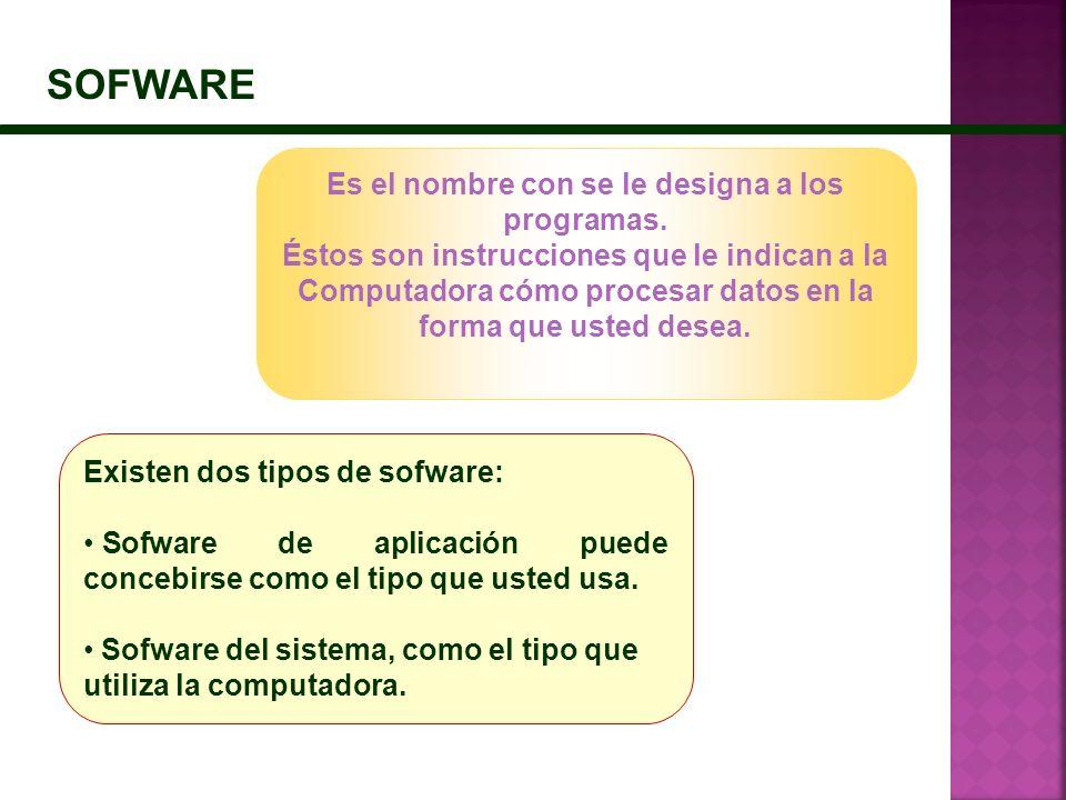 SOFWARE Es el nombre con se le designa a los programas.