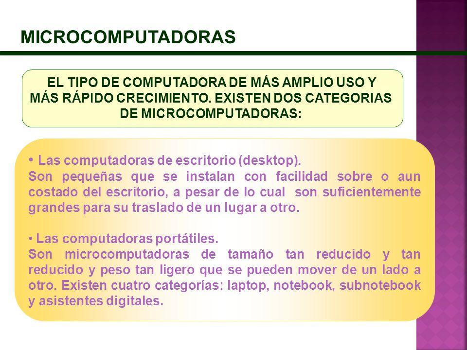 MICROCOMPUTADORAS Las computadoras de escritorio (desktop).