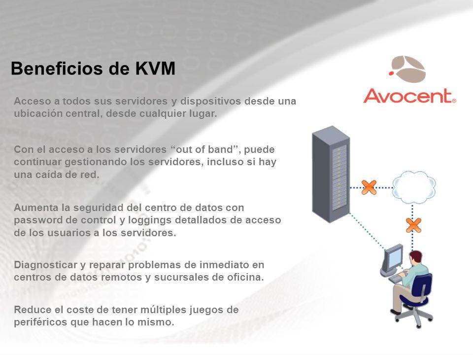 Beneficios de KVM Acceso a todos sus servidores y dispositivos desde una ubicación central, desde cualquier lugar.