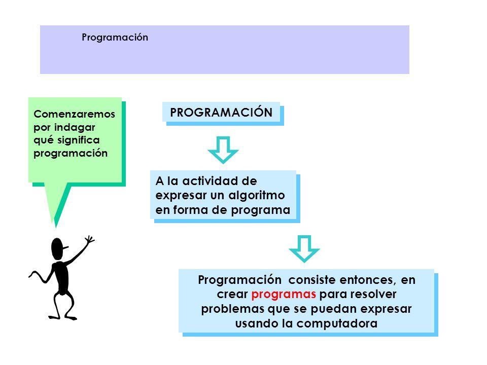 A la actividad de expresar un algoritmo en forma de programa