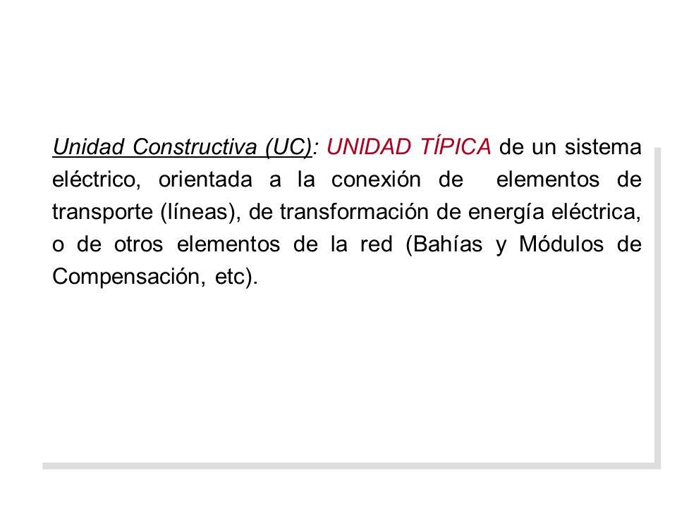Unidad Constructiva (UC): UNIDAD TÍPICA de un sistema eléctrico, orientada a la conexión de elementos de transporte (líneas), de transformación de energía eléctrica, o de otros elementos de la red (Bahías y Módulos de Compensación, etc).