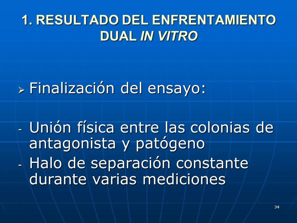 1. RESULTADO DEL ENFRENTAMIENTO DUAL IN VITRO