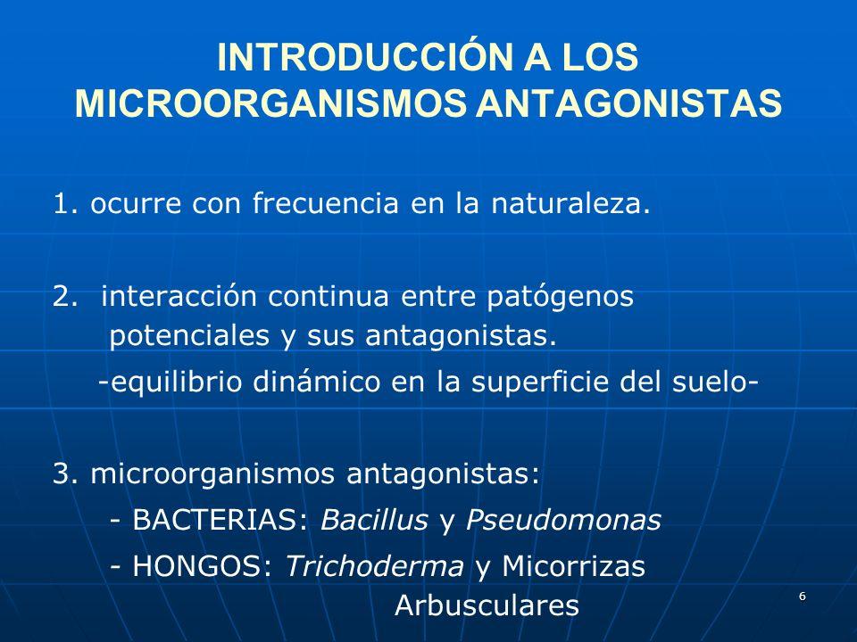 INTRODUCCIÓN A LOS MICROORGANISMOS ANTAGONISTAS