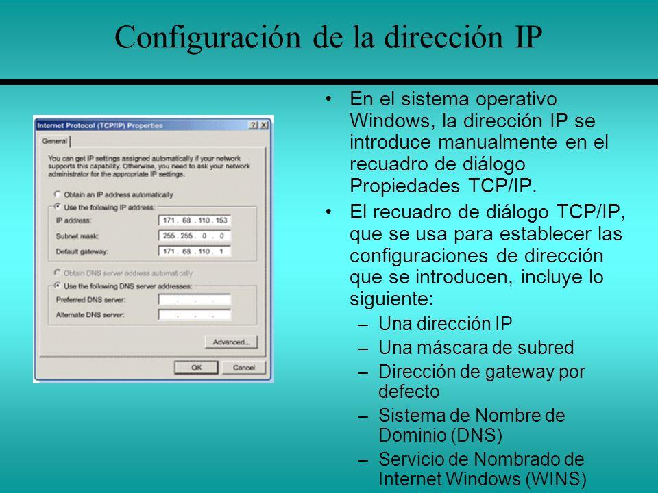 Configuración de la dirección IP