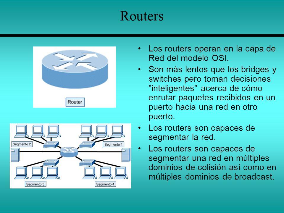 Routers Los routers operan en la capa de Red del modelo OSI.