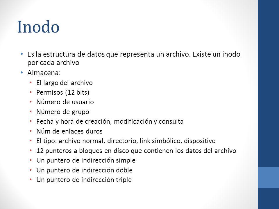Inodo Es la estructura de datos que representa un archivo. Existe un inodo por cada archivo. Almacena: