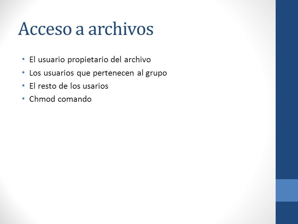 Acceso a archivos El usuario propietario del archivo