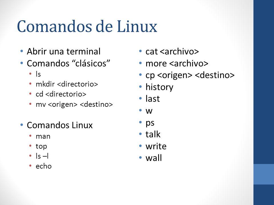 Comandos de Linux Abrir una terminal Comandos clásicos