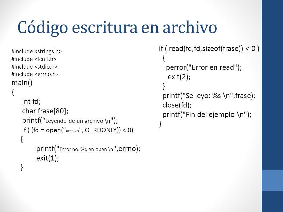 Código escritura en archivo