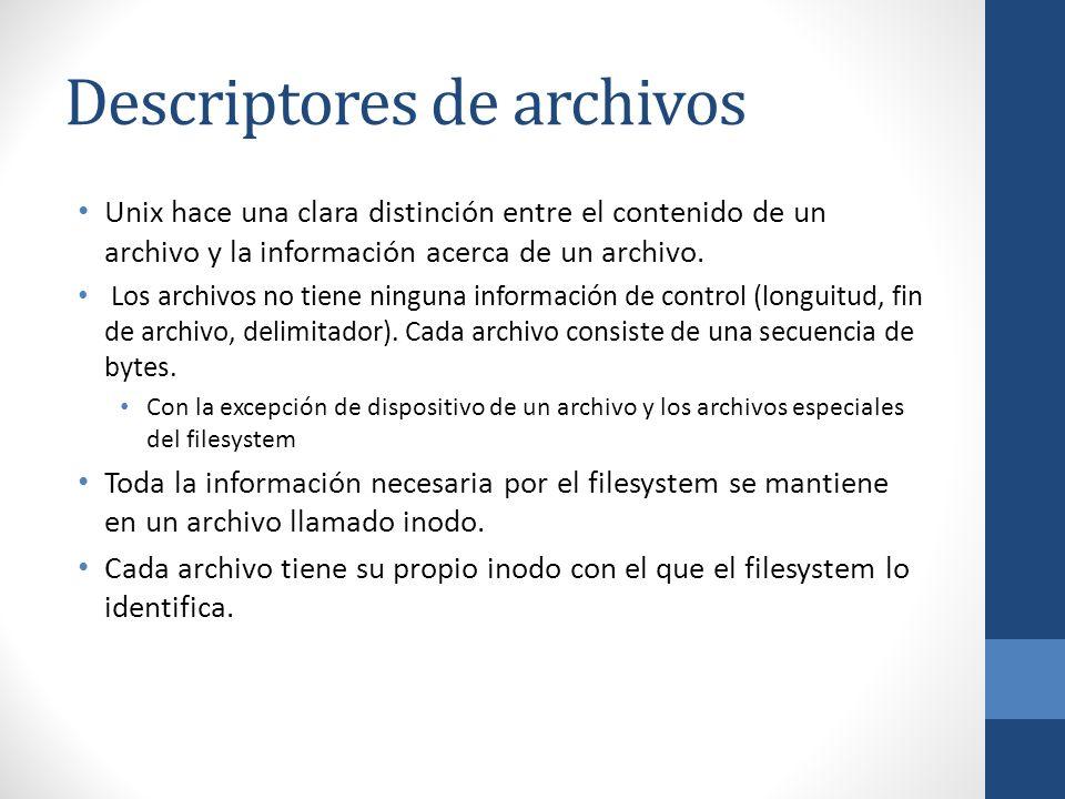 Descriptores de archivos