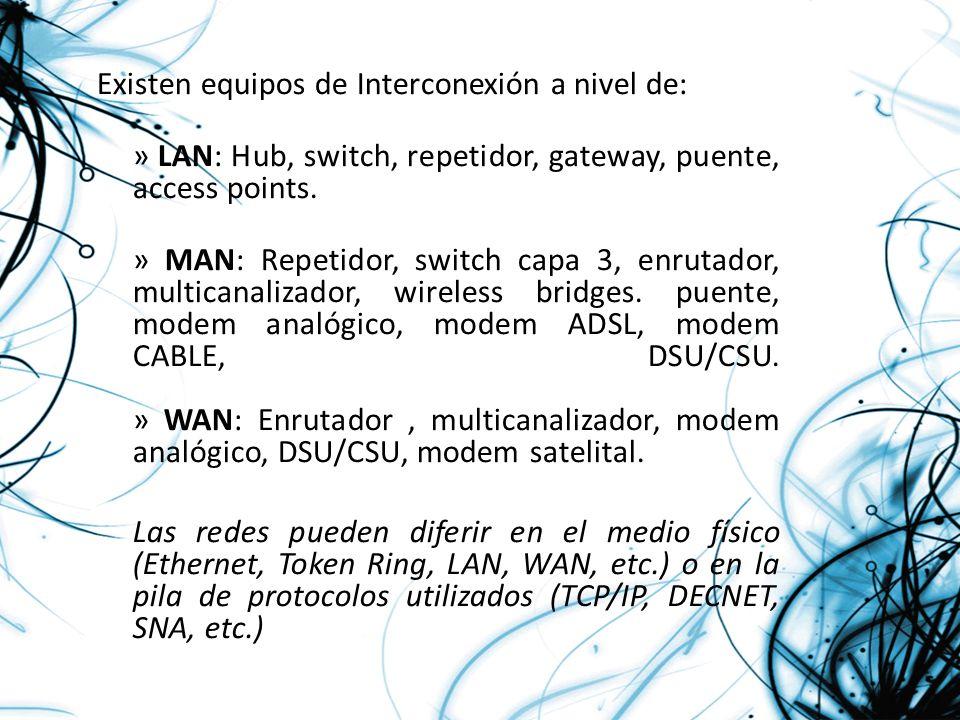 Existen equipos de Interconexión a nivel de: