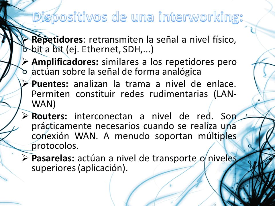 Dispositivos de una interworking: