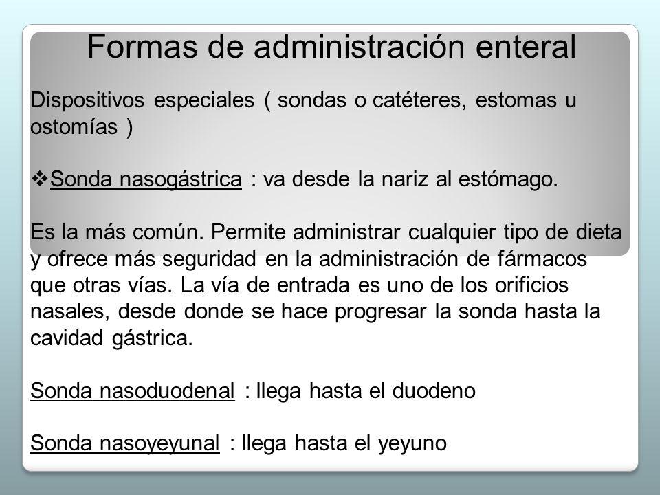 Formas de administración enteral