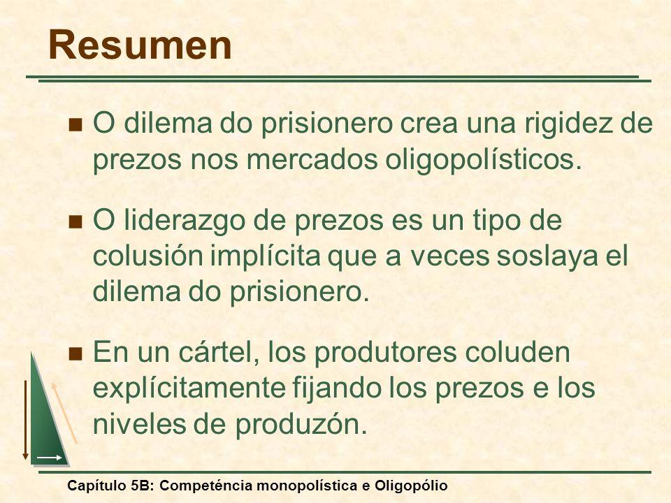 Resumen O dilema do prisionero crea una rigidez de prezos nos mercados oligopolísticos.