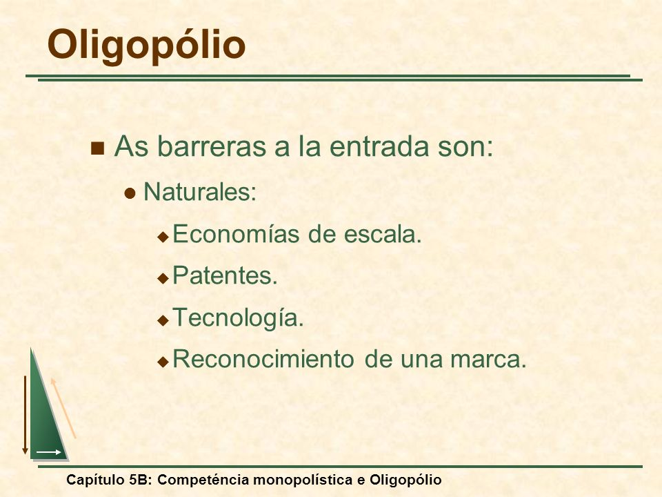 Oligopólio As barreras a la entrada son: Naturales: