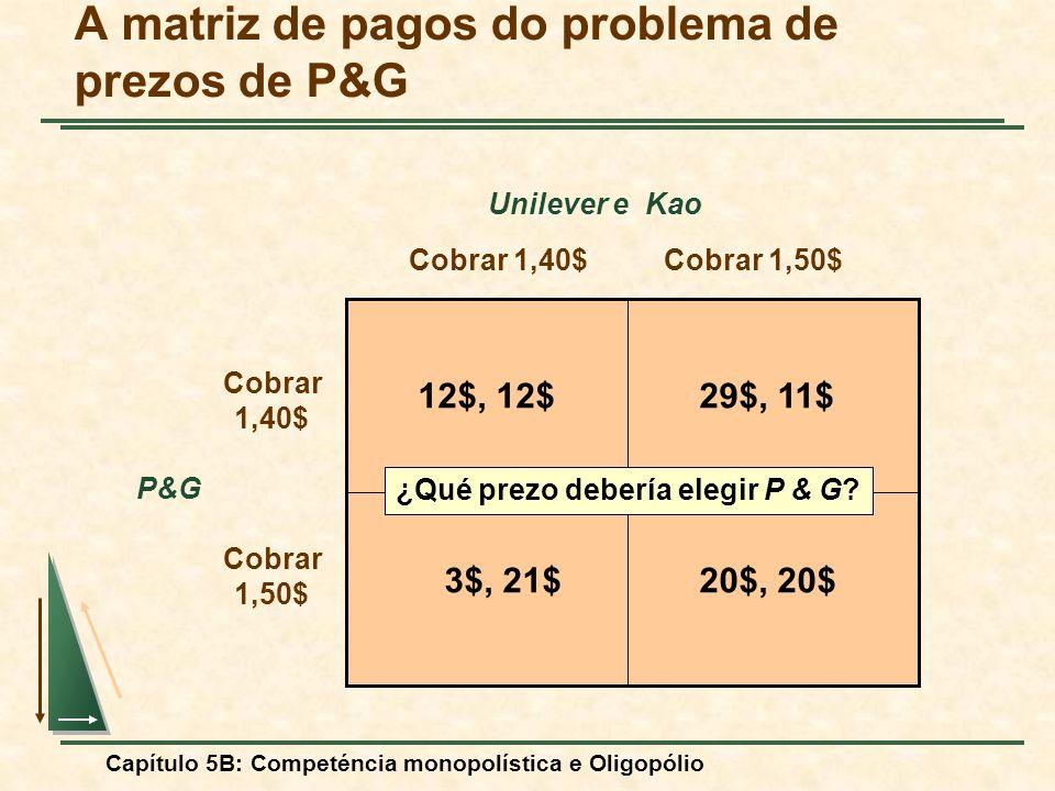 A matriz de pagos do problema de prezos de P&G