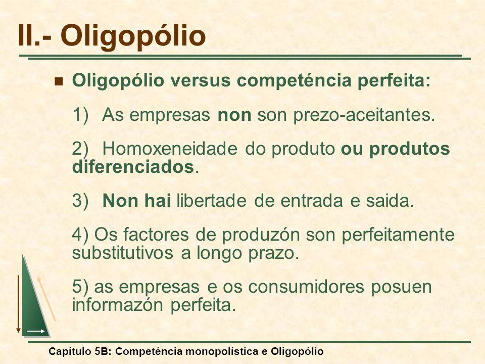 II.- Oligopólio Oligopólio versus competéncia perfeita:
