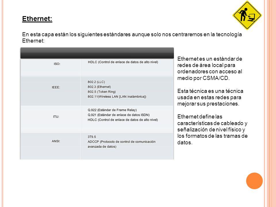Ethernet: En esta capa están los siguientes estándares aunque solo nos centraremos en la tecnología Ethernet: