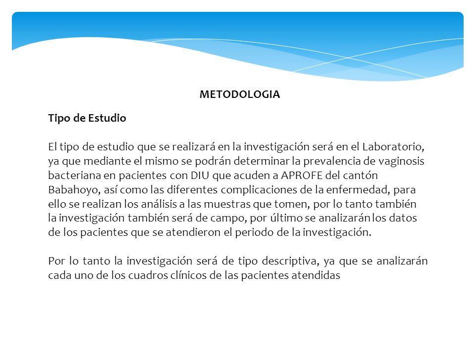 METODOLOGIA Tipo de Estudio.