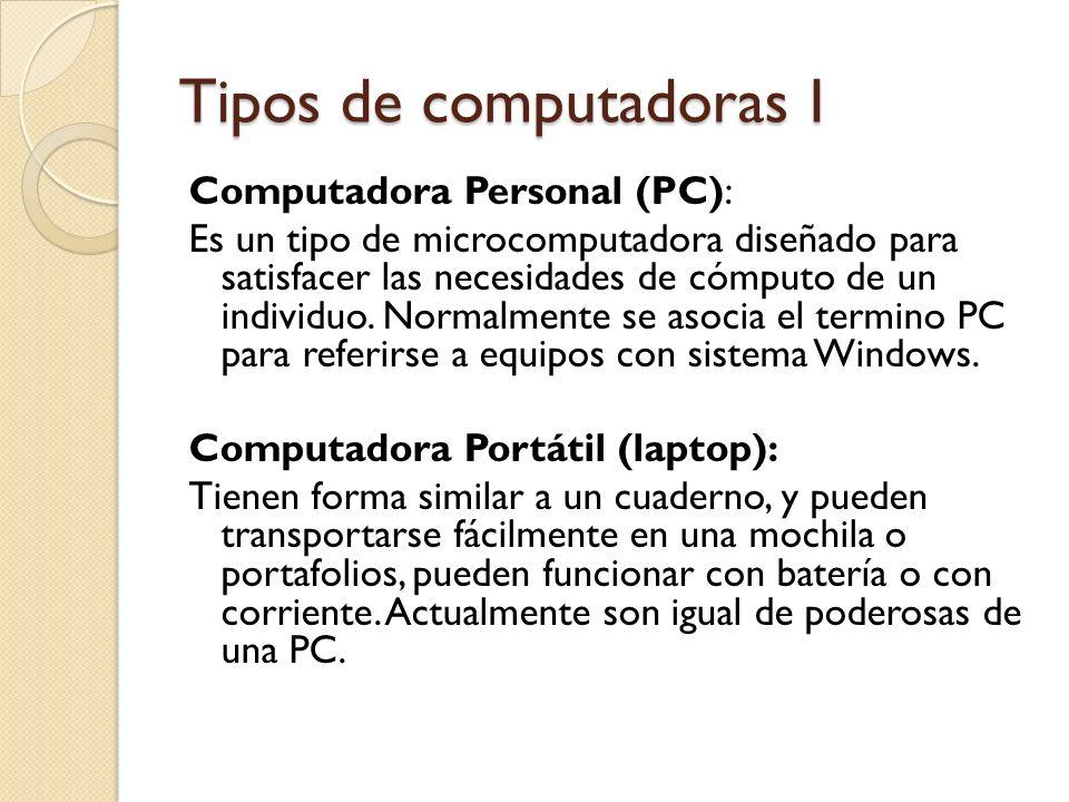 Tipos de computadoras I