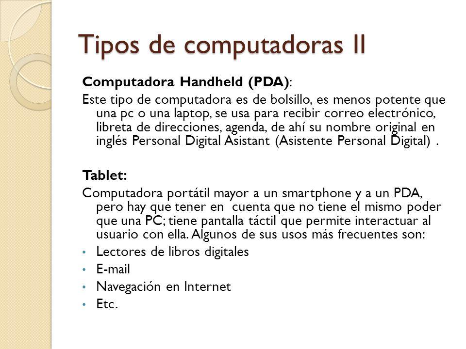 Tipos de computadoras II