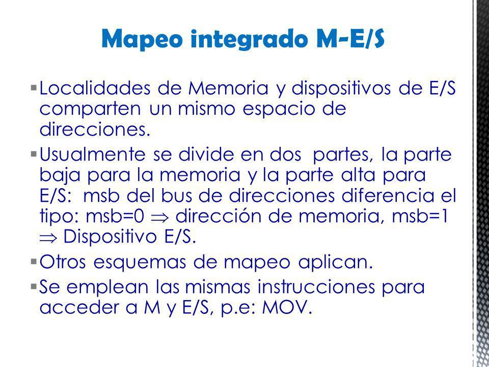 Mapeo integrado M-E/S Localidades de Memoria y dispositivos de E/S comparten un mismo espacio de direcciones.