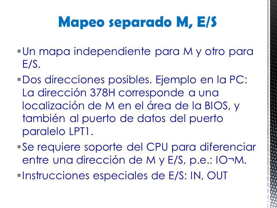 Mapeo separado M, E/S Un mapa independiente para M y otro para E/S.