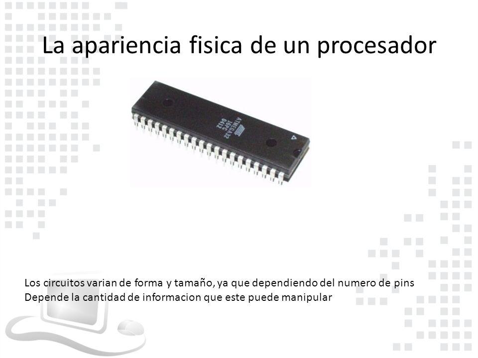 La apariencia fisica de un procesador
