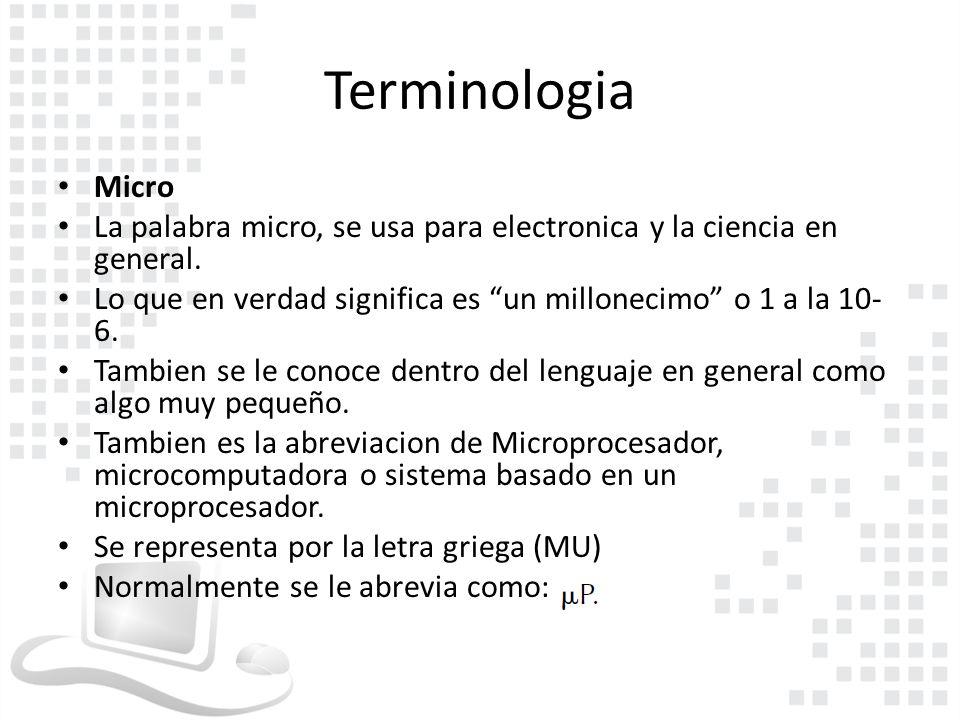 Terminologia Micro. La palabra micro, se usa para electronica y la ciencia en general.