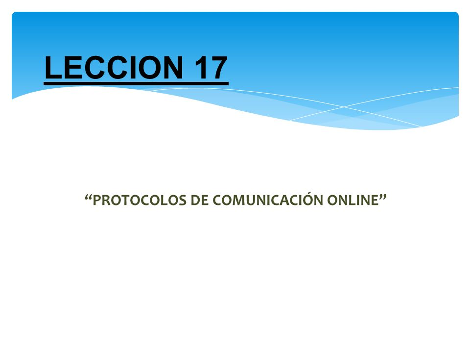 PROTOCOLOS DE COMUNICACIÓN ONLINE