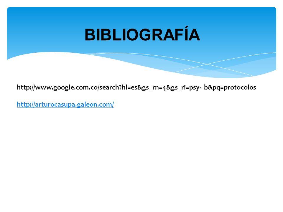 BIBLIOGRAFÍA http://www.google.com.co/search hl=es&gs_rn=4&gs_ri=psy- b&pq=protocolos.