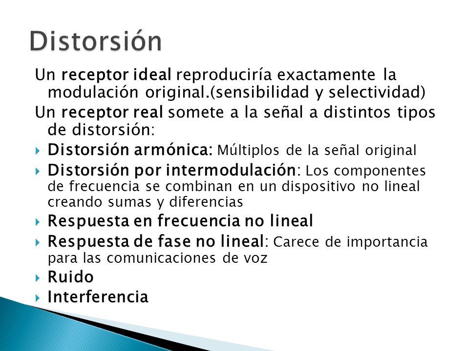 Distorsión Un receptor ideal reproduciría exactamente la modulación original.(sensibilidad y selectividad)