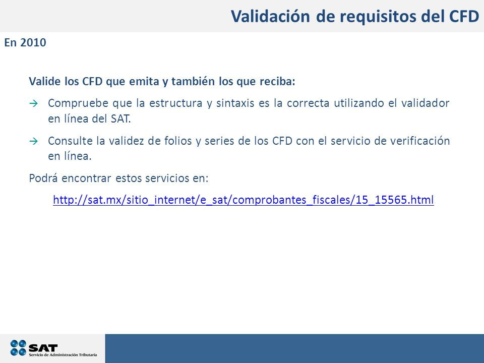 Validación de requisitos del CFD