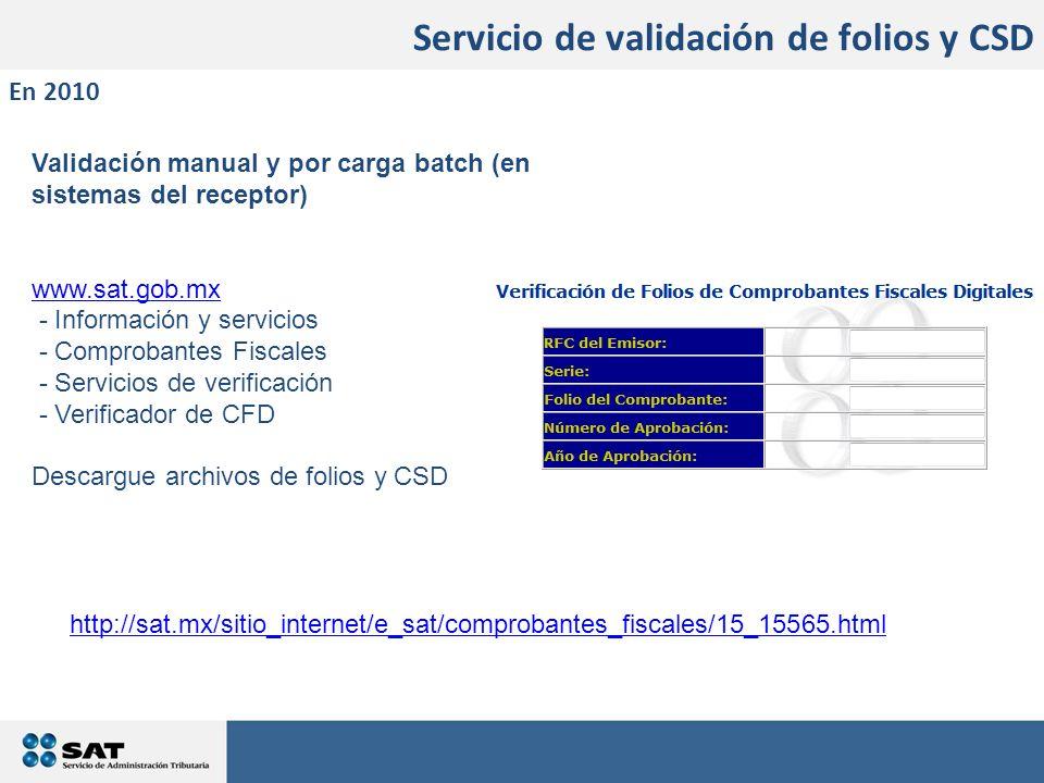 Servicio de validación de folios y CSD