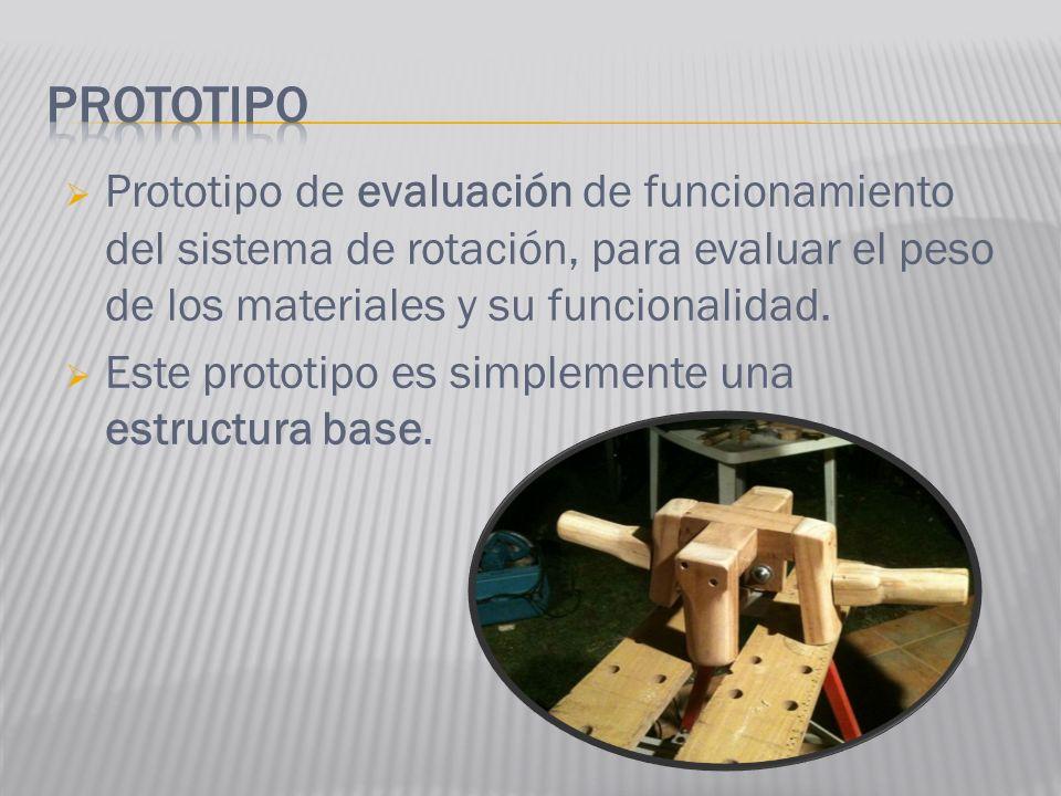 Prototipo Prototipo de evaluación de funcionamiento del sistema de rotación, para evaluar el peso de los materiales y su funcionalidad.