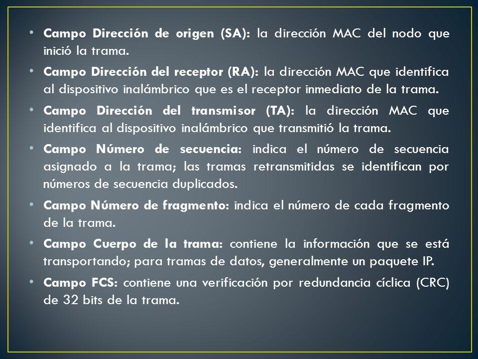 Campo Dirección de origen (SA): la dirección MAC del nodo que inició la trama.