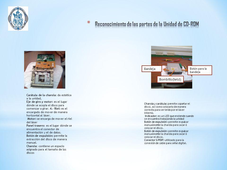 Reconocimiento de las partes de la Unidad de CD-ROM