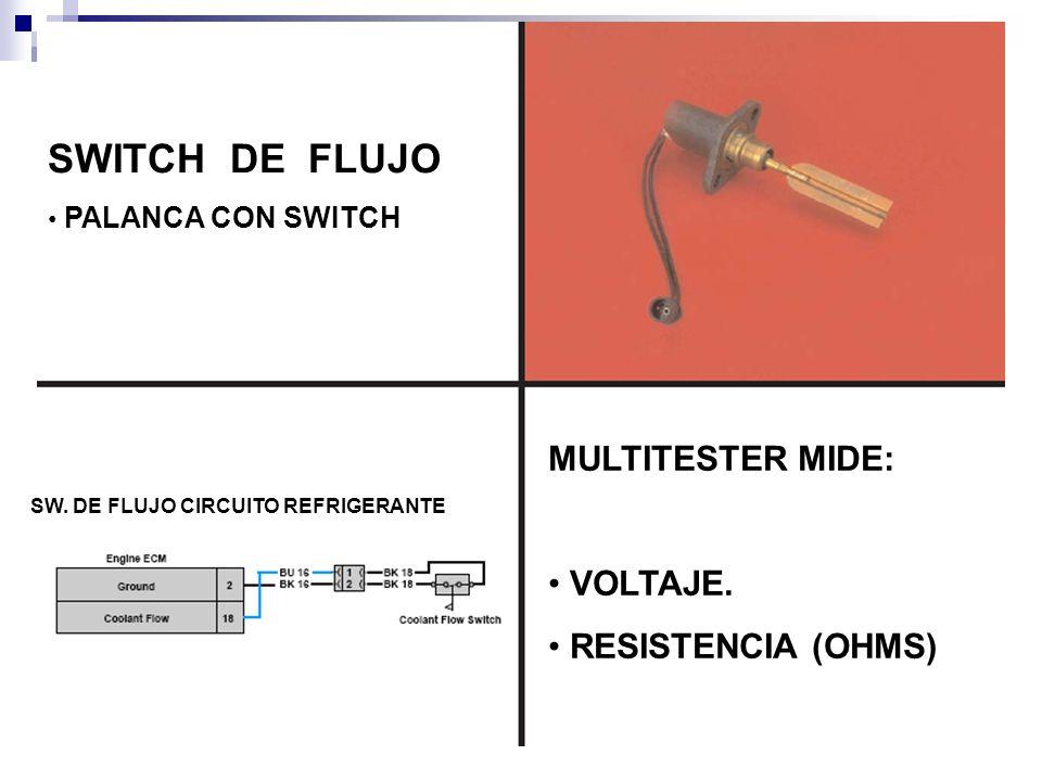 SWITCH DE FLUJO MULTITESTER MIDE: VOLTAJE. RESISTENCIA (OHMS)