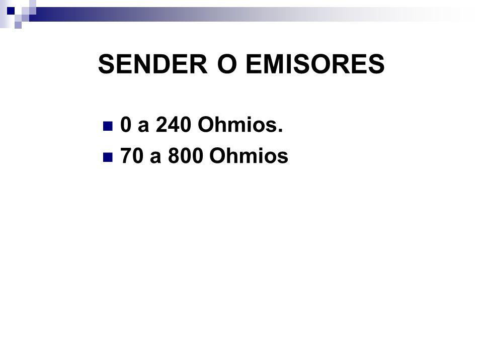SENDER O EMISORES 0 a 240 Ohmios. 70 a 800 Ohmios