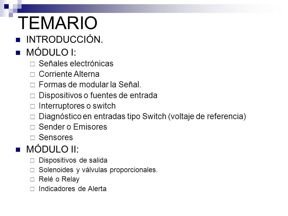 TEMARIO INTRODUCCIÓN. MÓDULO I: MÓDULO II: Señales electrónicas