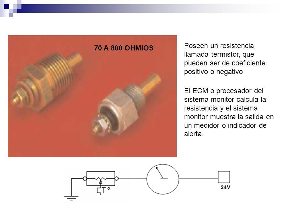 Poseen un resistencia llamada termistor, que pueden ser de coeficiente positivo o negativo
