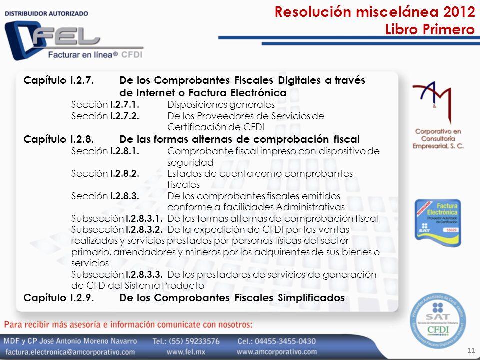 Resolución miscelánea 2012 Libro Primero