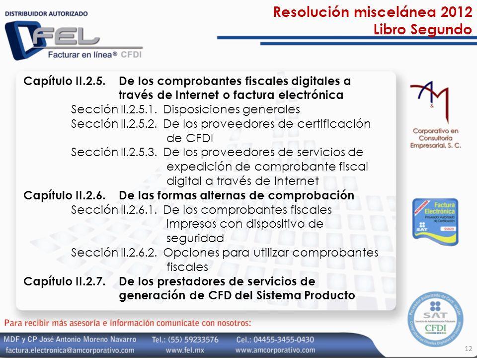 Resolución miscelánea 2012 Libro Segundo
